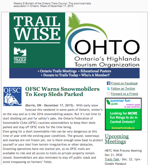 Ontario Trails Council weekly newsletter