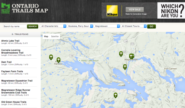 Magnetawan Trails map captured from Ontario Trails Map